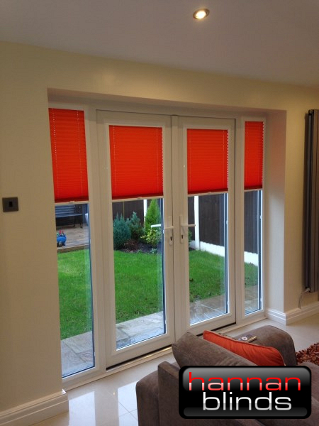 Bright Orange Perfect Fit Pleated Blinds on Patio Doors