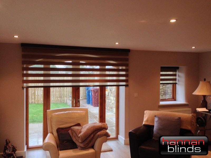 Matching Brown Day & Night Blinds in a Lounge