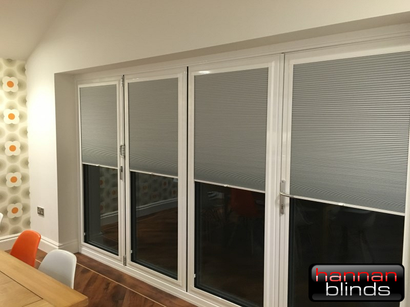 Perfect Fit Cellular Pleated Blinds on Wide Bi-Fold Doors