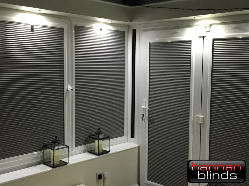 Grey Perfect Fit Pleated Blinds in a Beautiful Conservatory
