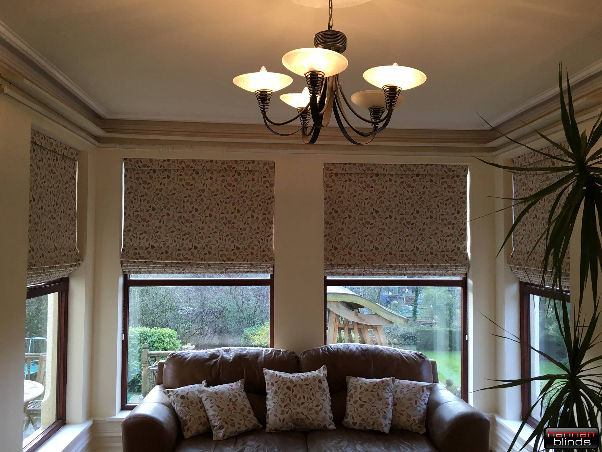 Soft Roman Blinds & Matching Cushions in a Lovely Sitting area