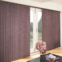 Cover large areas like patio doors with wide vertical blinds