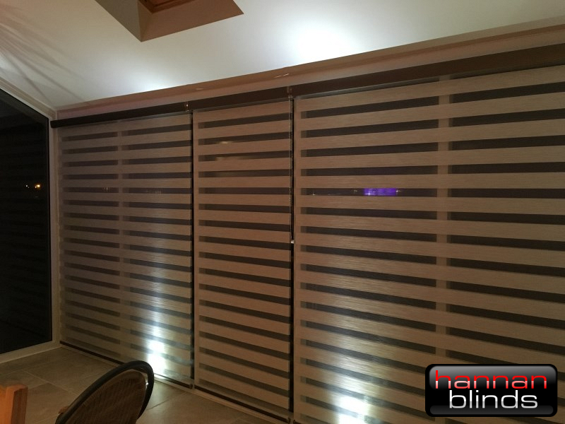 Mocha Day & Night Blinds in a Conservatory
