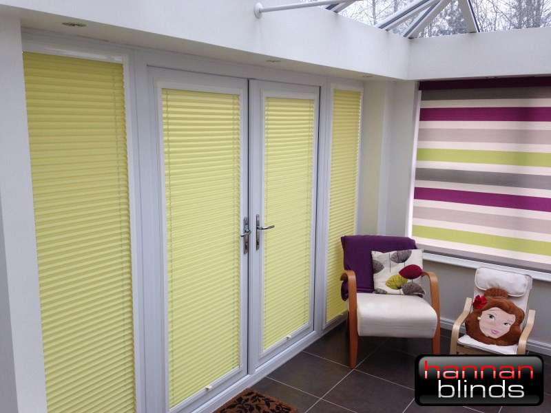 Lemon Coloured Perfect Fit Blinds and a Stripy Senses Roller Blind
