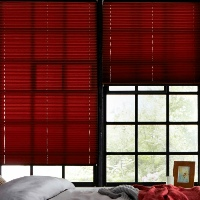 Rustic red pleated blinds look great in any room