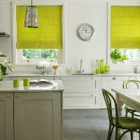 Lime green Roman Blinds really add a pop a colour in Kitchens