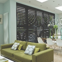 Solid basswood shutters in dark Wenge look stunning